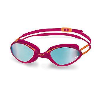 HEAD Tiger Race Mid Mirrored Swim Goggles - Raspberry/Blue