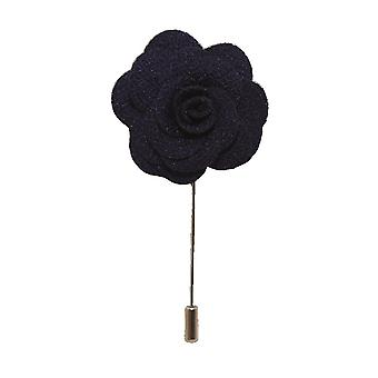 Handmade Flower/Rose Lapel Pin   Navy