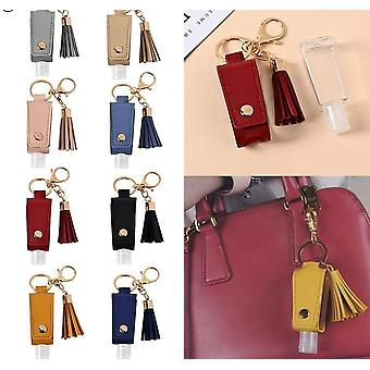 Empty Plastic Bottle For Hand Sanitizer With Tassels Leather Keychain Holder