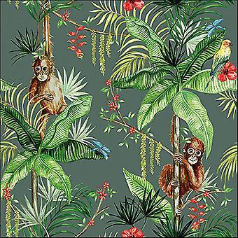 Ambiente 3 Ply paperi lautasliinat, Orangutan vihreä