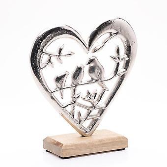 Hestia Metal Heart & Lovebirds Ornament