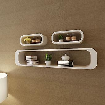3 White Mdf Floating Wall Display Shelf Cubes Book/dvd Storage