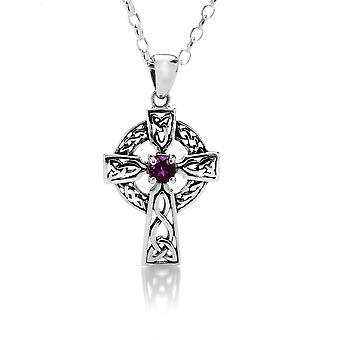 Sterling Silber Anhänger Halskette - keltische Kreuz + Amythest