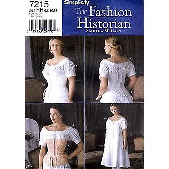 Simplicity 7215 Sew Pattern HISTORICAL Misses' CHEMISE and CORSETS Size 6-12
