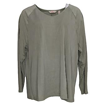 Laurie Felt Women's Top Large Suede Knit Washed Olive A389148