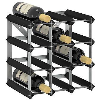 vidaXL étagère à vin pour 12 bouteilles de bois massif noir pin