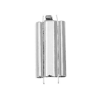 Elegant Elements Beadslides, Seed Bead Slide End Tube Clasp 24x10mm, 1 Set, Silver Plated