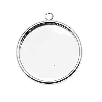 Silver Plated Large Round Bezel Pendant - 25mm Diameter (1)