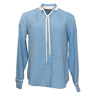 Elizabeth & Clarke Women's Top Button-Front Tie Collar Blue