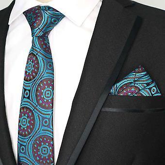 Vihreä violetti & sininen kuvio kravatti tasku neliön & tie