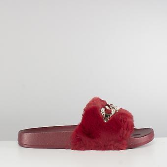 Shumo Edna Ladies Faux Fur Chain Sliders Burgundy