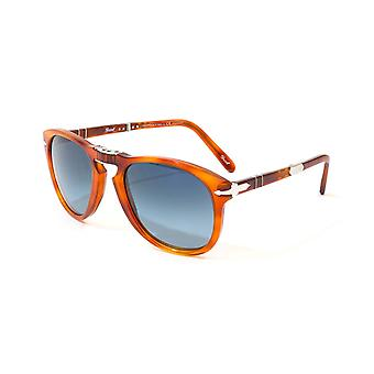 Persol Steve McQueen Foldable Gradient Blue Polar Lens Sunglasses - Light Havana