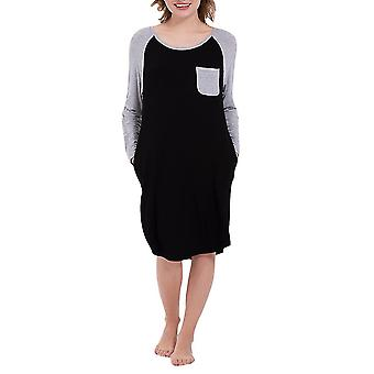 Black l ladies round neck stitching contrast color warm nightdress homi2122