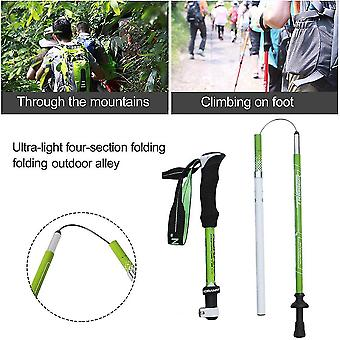 Koraman Carbon Aluminum Alloy Walking Stick 4 Section Telescopic Climbing Pole