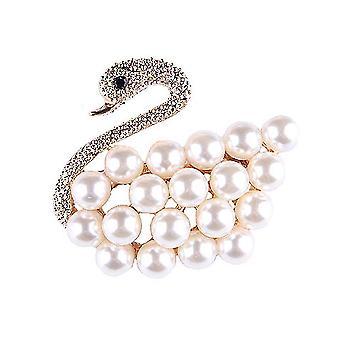 Highend Corsage Swan Ladies Brooch Pearls Alloy Brooch Pin