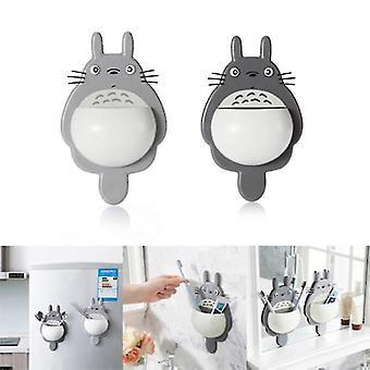Зубная щетка Настенное крепление Держатель Симпатичный Totoro Присоска Всасывающая комната Органайзер Присоска Коробка (темно-серый)