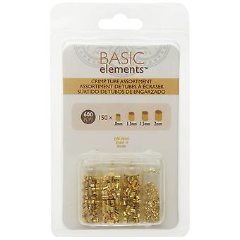 Basic Elements Crimp Beads, Tube 4 Size Variety Pack, 600 Pieces, Gold Plated