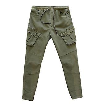 Herren Cargo Jogger Pants Chino Design Stretch Schlupfhose Gummibund Jogginghose