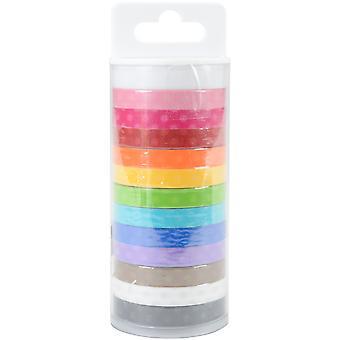 Doodlebug Monochromatic Washi Tape 8mmx12yds 12/Pkg - Polka Dot