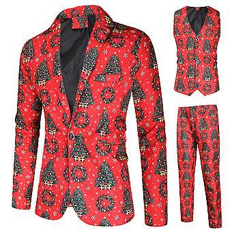 Allthemen Pánské ležérní party vánoční stromek tisk oblek třídílný oblek ležérní oblek