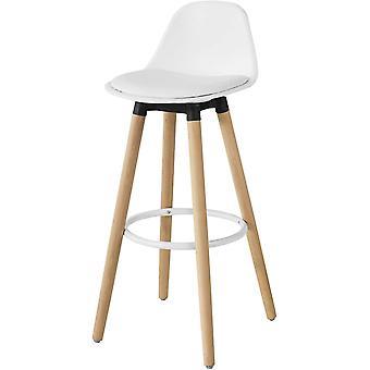 SoBuy FST70-W, stołek barowy ze skórą PU Wyściełane siedzisko i nogi z drewna bukowego