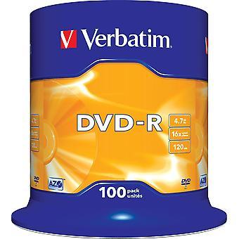 Verbatim DVD-R, 16 X, 4.7 GB/120 min, 100-Pack Spindel, AZO