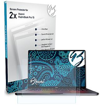 Bruni 2x Screen Protector compatible with Xiaomi RedmiBook Pro 15 Protective Film