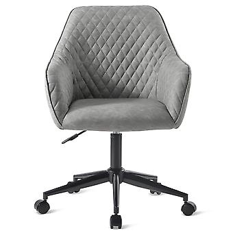 Retro Grey Desk Chair With Arms Luxurious Cushion For Home Office