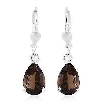 TJC Smoky Quartz Engagement Solitaire Earrings for Women in Silver 3.5ct