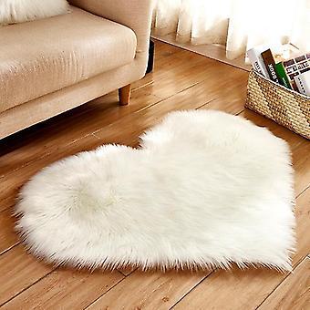 Herzförmige weiche Kunst-Schaffellfell-Teppiche (40x50cm langer Samt) (Weiß)