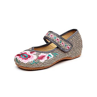 Women Vintage Chinese Embroidery Embroidered Low Heeled Elevator Flat Cheongsam Dress Shoes Evening Lavender Shoes