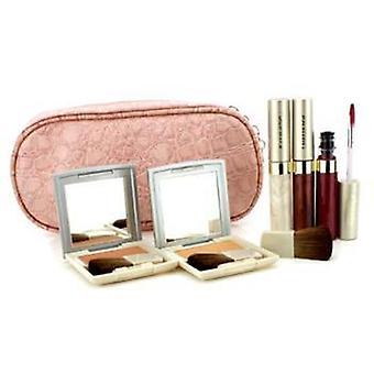 Kanebo Cheek & Lip Makeup Set With Pink Cosmetic Bag (2xcheek Color 3xmode Gloss 1xbrush 1xcosmetic Bag) - 6pcs+1bag
