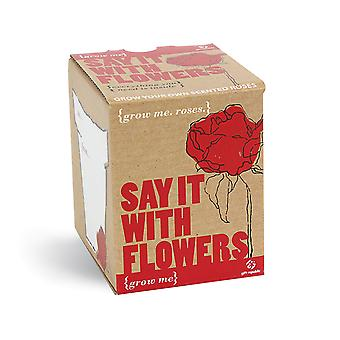 Pflanz Set Rosen Sag es mit Blumen Samen 4-teilig Grow me Box