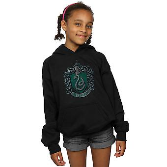 Harry Potter Girls Slytherin Distressed Crest Hoodie