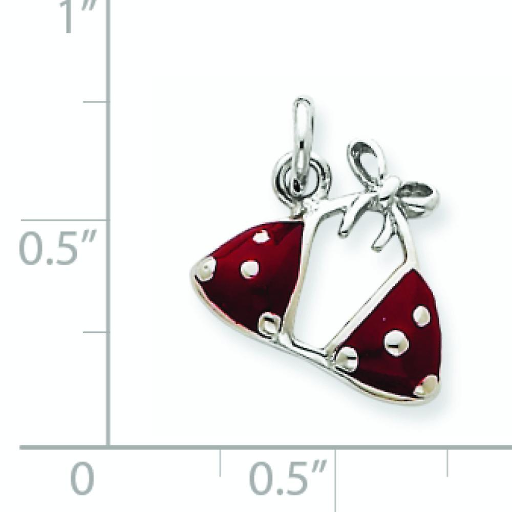 925 Sterling Silver Solid Polished Open back Enameled Red Bikini Top Charm Pendant Necklace Jewelry Gifts for Women
