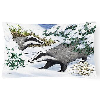 Carolines schatten ASA2182PW1216 dassen in de sneeuw stof decoratieve kussen