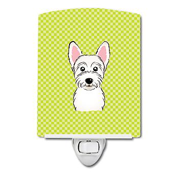 Checkerboard Lime Green Westie Ceramic Night Light