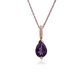 Classic Pear Amethyst Claw Set Single Stone Pendant Necklace in 9ct Rose Gold 123P0782019