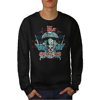 Dywizji Powietrznodesantowej czaszki mężczyzn BlackSweatshirt   Wellcoda