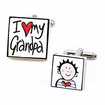Sonia Spencer rakastan minun isoisä - Brunette poika kalvosinnapit - Englanti luuposliini käsin muotoillut kalvosinnapit