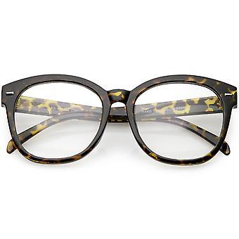 Oversize Horn umrandeten runden Brillen Metallnieten Lichtscheibe 55mm