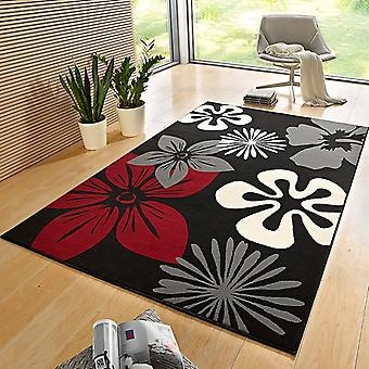 Negro de flora de alfombra velour diseño rojo | 102403