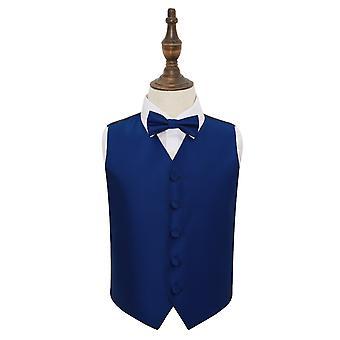 Royal Blue effen Check bruiloft gilet & strikje Set voor jongens
