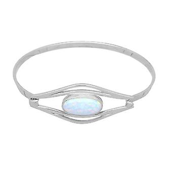 Sterling Silver Scottish Sahara Sunset Hand Crafted Bangle - White Opal Synthetic Stone