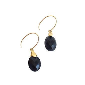 Gemshine - damer - örhängen - Guld pläterad - Onyx - facetterade 2 cm - svart-