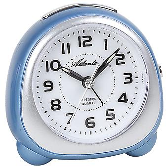 Atlanta 1930/5 alarm clock quartz blue silver quietly without ticking with light Snooze