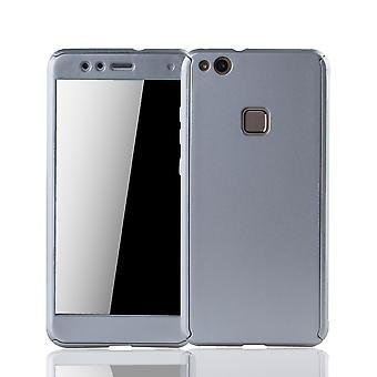 Huawei P10 Lite gaine de téléphone protecteur case full cover blind blindés protection verre argent