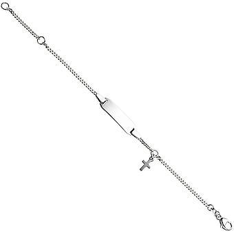 Bouclier de Bracelet avec croix en argent sterling 925 14 cm gravé bracelet d'identité