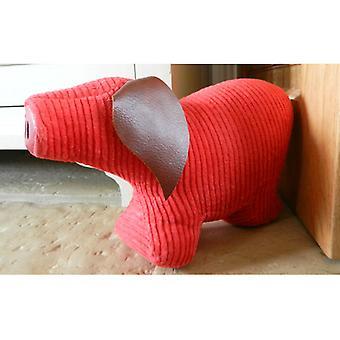Red Jumbo Cord Pig Door Banger / Doorstop by Monica Richards