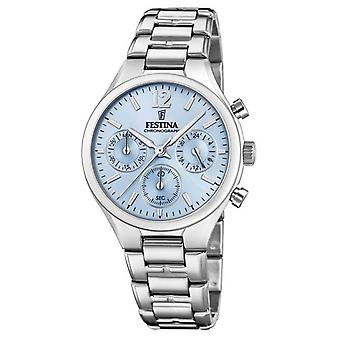 Festina Womens vriendje Chronograph Stainless Steel Blue Dial F20391/3 Watch